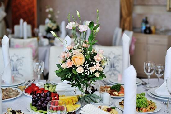 bridal wedding bouquet on the table