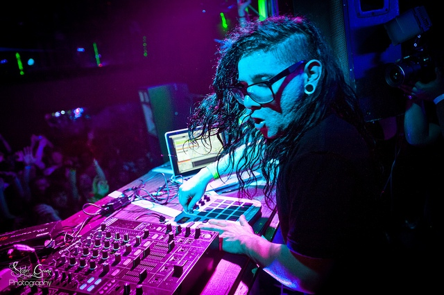 Skrillex DJing for Wobbleland at the Sound Factory in San Francisco.